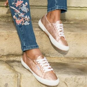 Superga Rose Gold Textured Metallic Sneakers